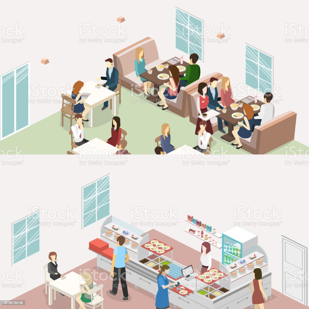 Isometric Flat Interior Of Sweetshop Cafe Canteen And Restaurant ...