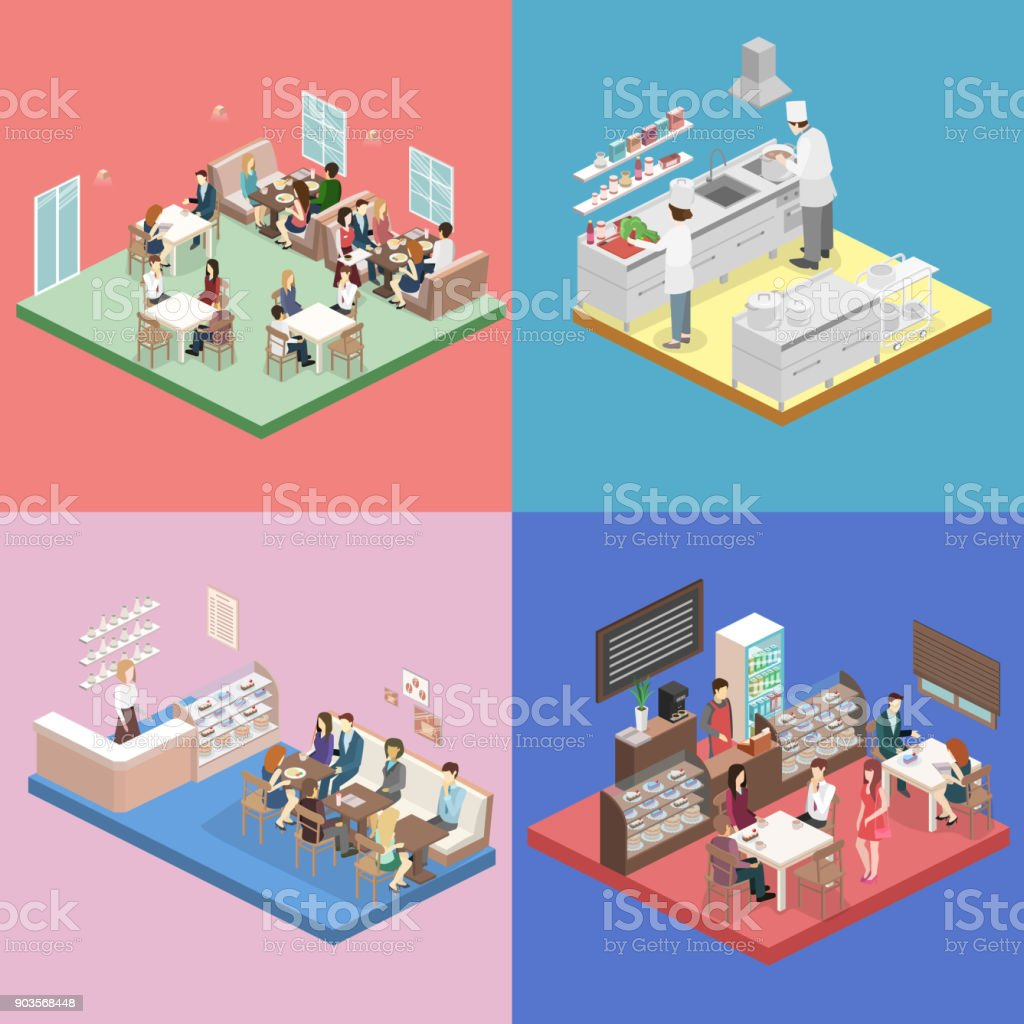 Isometric flat interior of sweet-shop, cafe, canteen and restaurant kitchen.
