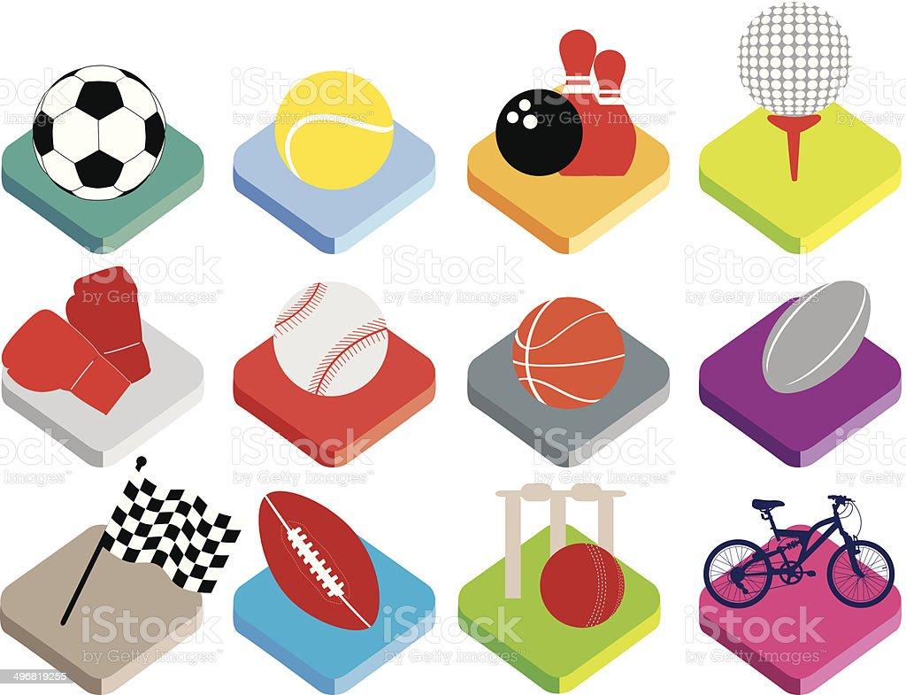 isometric esportes bola plana ícone localizado no fundo branco - ilustração de arte em vetor
