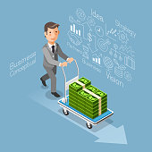 Isometric flat style. Businessman pushing a cart with money cash.