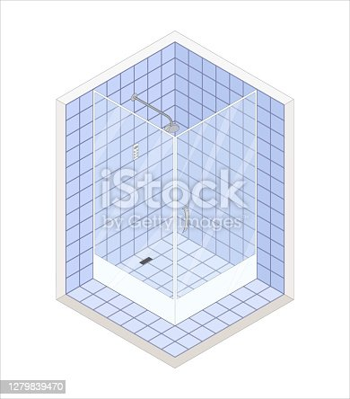 istock Isometric flat vector 3D concept showers cabin 1279839470