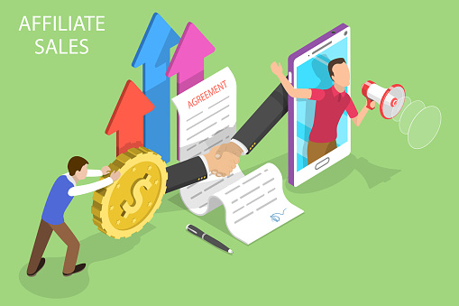 Isometric flat vector concept of affiliate sales, marketing strategy, referral.