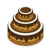 3D Isometric Flat Vector Concept of Chocolate Cake.