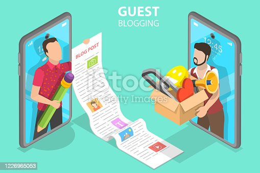 istock 3D Isometric Flat Vector Concept of Commercial Blog Posting and Copywriting. 1226965053