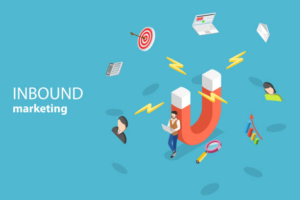 ilustrações de stock, clip art, desenhos animados e ícones de isometric flat vector concept of digital inbound marketing strategy. - inbound marketing