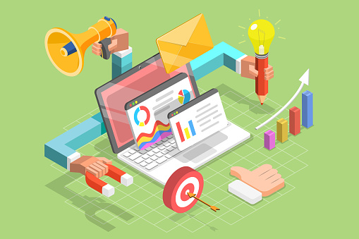 1125605742 istock photo 3D Isometric Flat Vector Concept of Digital Marketing Agency. 1218533879