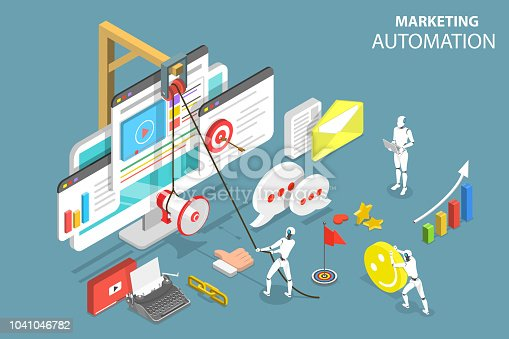 Isometric flat vector concept of digital marketing automation, social media strategy, ai, chatbot.