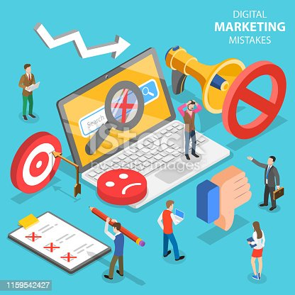 Isometric flat vector concept of digital marketing mistakes, wrong strategy, SEO errors.