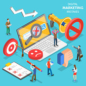 Isometric flat vector concept of digital marketing mistakes, wrong strategy.