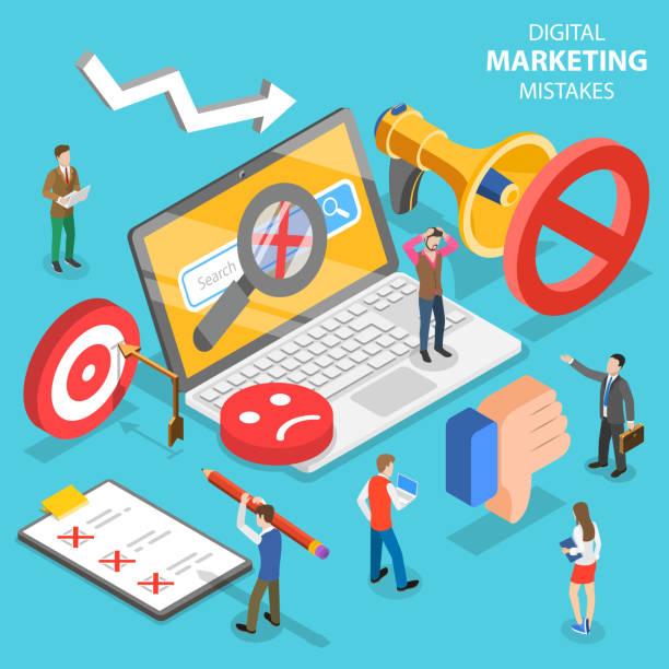 illustrazioni stock, clip art, cartoni animati e icone di tendenza di concetto vettoriale piatto isometrico di errori di marketing digitale, strategia sbagliata. - malvagità
