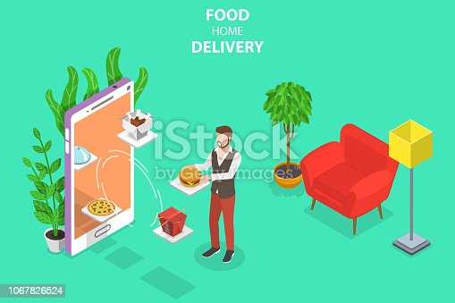 Isometric flat vector concept of food home delivery, online ordering, restaurant reservation.