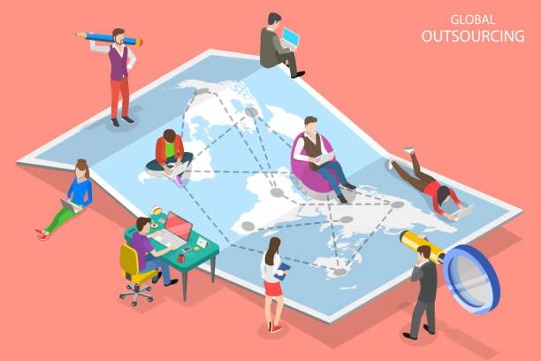 isometrisches flachvektorkonzept des globalen outsourcing, enterprise remote management. - abgeschiedenheit stock-grafiken, -clipart, -cartoons und -symbole