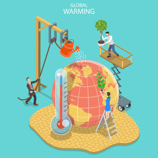 illustrazioni stock, clip art, cartoni animati e icone di tendenza di isometric flat vector concept of global warming, climate change. - climate change