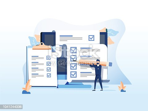 Isometric flat vector concept of online exam, questionnaire form, online education, survey, internet quiz. Survey or exam form long paper sheet with answered quiz checklist and success result
