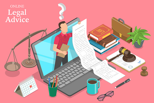 3D Isometric Flat Vector Concept of Online Legal Advice, Law and Justice.