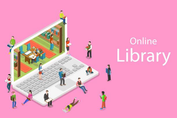 stockillustraties, clipart, cartoons en iconen met isometrische platte vector concept van online bibliotheek, onderwijs, lezen. - e learning