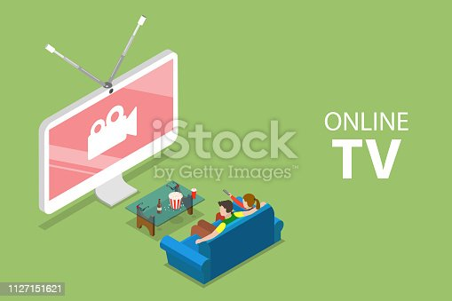 Isometric flat vector concept of smart TV, home entertainment, movie online, streaming.