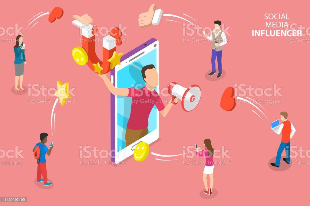 社交媒體影響者的等向平向量概念, 數位行銷策略。 - 免版稅互聯網圖庫向量圖形