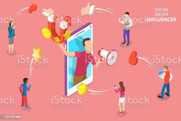 社交媒體影響者的等向平向量概念 數位行銷策略向量圖形及更多互聯網圖片