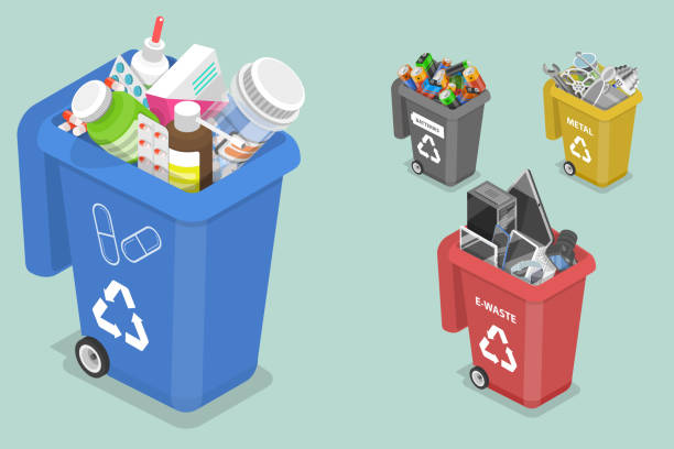 3D Isometric Flat Vector Concept of Sorting Waste for Recycling 3D Isometric Flat Vector Concept of Sorting Waste for Recycling, Colored Waste Bins With Trash, Different Types of Garbage: Medicine, Metal, E-waste, Batteries. obsolete stock illustrations