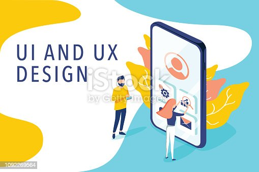 istock Isometric flat vector concept of UI and UX design process, mobile app development, GUI design. People testing interface 1092269564