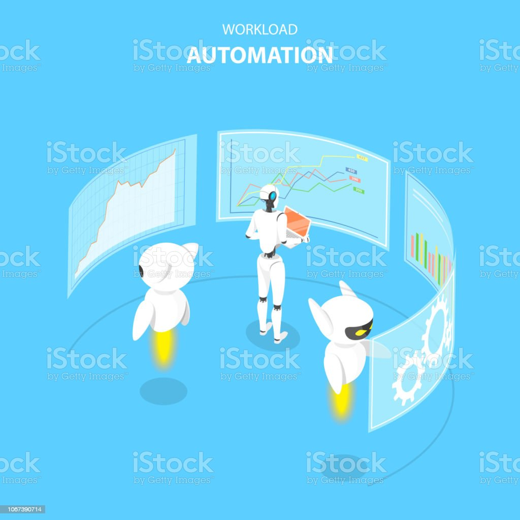 Isometric Flat Vector Concept Of Workload Automation Job