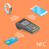 Flat isometric vector concept of NFC - Near Field Communication.