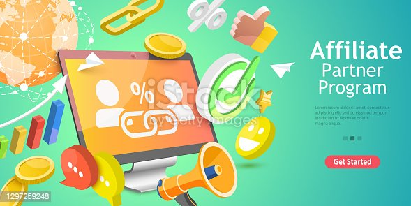 istock 3D Isometric Flat Vector Conceptual Illustration of Affiliate Sales. 1297259248