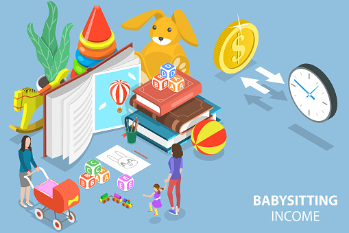 3D Isometric Flat Vector Conceptual Illustration of Babysitting Income.
