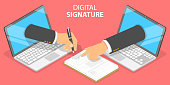 3D Isometric Flat Vector Conceptual Illustration of Digital Signature, Agreement or Legal Deal Online Signing.