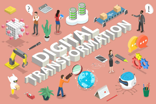 3D Isometric Flat Vector Conceptual Illustration of Digital Transformation. 3D Isometric Flat Vector Conceptual Illustration of Digital Transformation Areas Which are Big Data, Networking, Automation, Communication, IoT, Robotics, AI, Technology. digitized stock illustrations