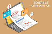 3D Isometric Flat Vector Conceptual Illustration of Editable Online Document, Text Editing Together.