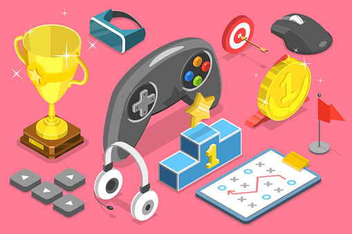 3D Isometric Flat Vector Conceptual Illustration of eSport Competition