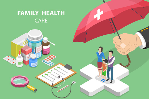 3D Isometric Flat Vector Conceptual Illustration of Family Health Care