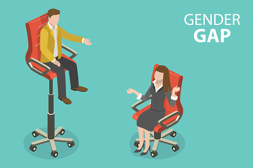 3D Isometric Flat Vector Conceptual Illustration of Gender Gap, Economic Inequality by Gender