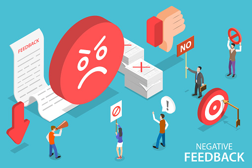 3D Isometric Flat Vector Conceptual Illustration of Negative Feedback, Bad Customer Experience.