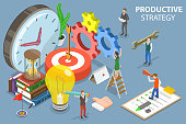 3D Isometric Flat Vector Conceptual Illustration of Productive Business Strategy, Time Management.