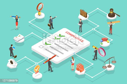 3D Isometric Flat Vector Conceptual Illustration of Regulatory Compliance, Steps That Are Needed to Be Complied With Relevant Laws, Policies and Regulations.