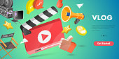 3D Isometric Flat Vector Conceptual Illustration of Vlog, Video Content Creating, Online Promotion.
