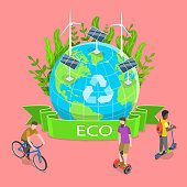 Isometric Flat Vector Illustration of Sustainability and Environmental Protection, 100 Percent Eco Friendly and Zero Waste Concept.