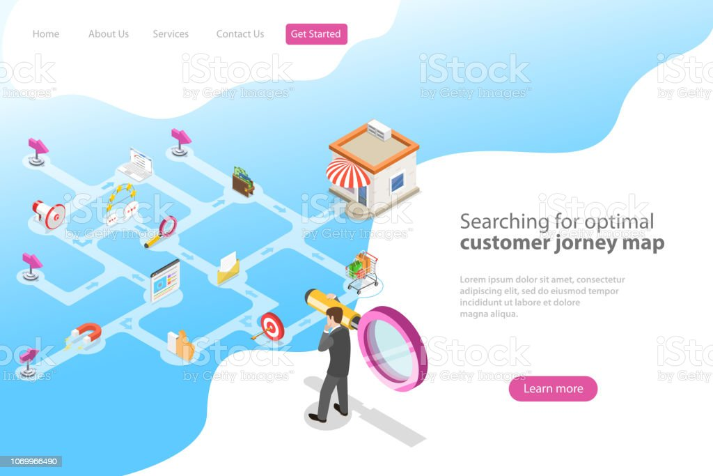 Isometric flat vector landing page for serching for optimal customer journey. royalty-free isometric flat vector landing page for serching for optimal customer journey stock illustration - download image now