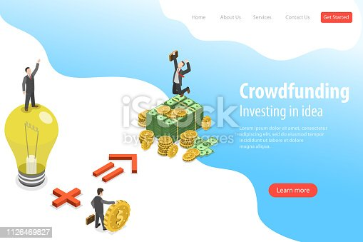 Isometric flat vector landing page template of crowdfunding, investing in idea, financial investment, marketing opportunities.