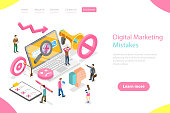 Isometric flat vector landing page template of digital marketing mistakes, wrong strategy, SEO errors.