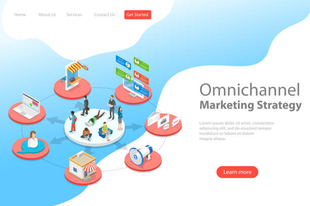 Isometric flat vector landing page template of omnichannel, several communication channels between seller and customer, digital marketing, online shopping. vector art illustration