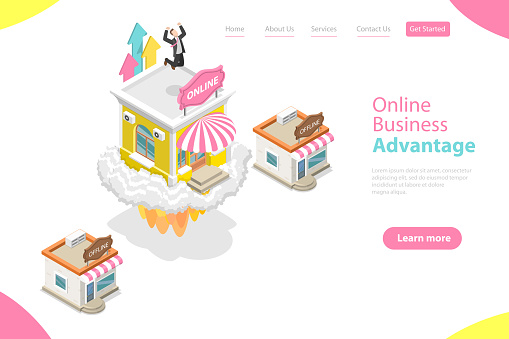 1125605742 istock photo 3D Isometric Flat Vector Landing Page Template of Online Business Advantages 1219901743