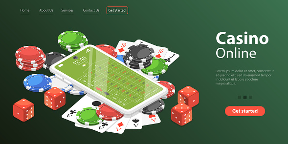 3D Isometric Flat Vector Landing Page Template of Online Gambling Platform.