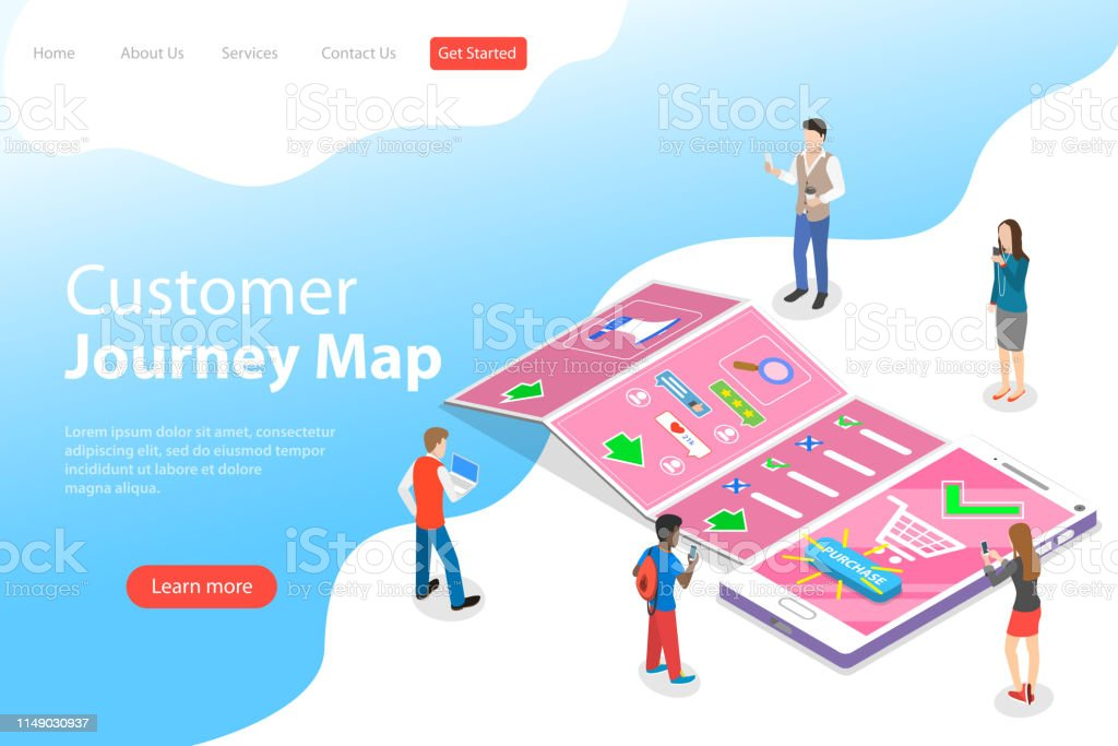 Isometric Flat Vector Landing Page Template Of Serching