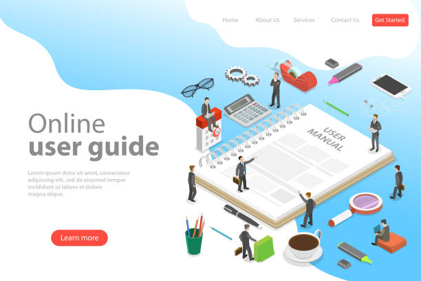 Isometric flat vector landing page template of user manual, guide. Isometric flat vector landing page template of user manual, guide, operating instractions, requirements and specifications document. guide stock illustrations