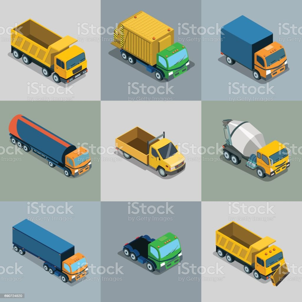 Isometric flat vehicle cargo transport vector illustration set. 3d Isometry City service and specialized transportation collection. vector art illustration