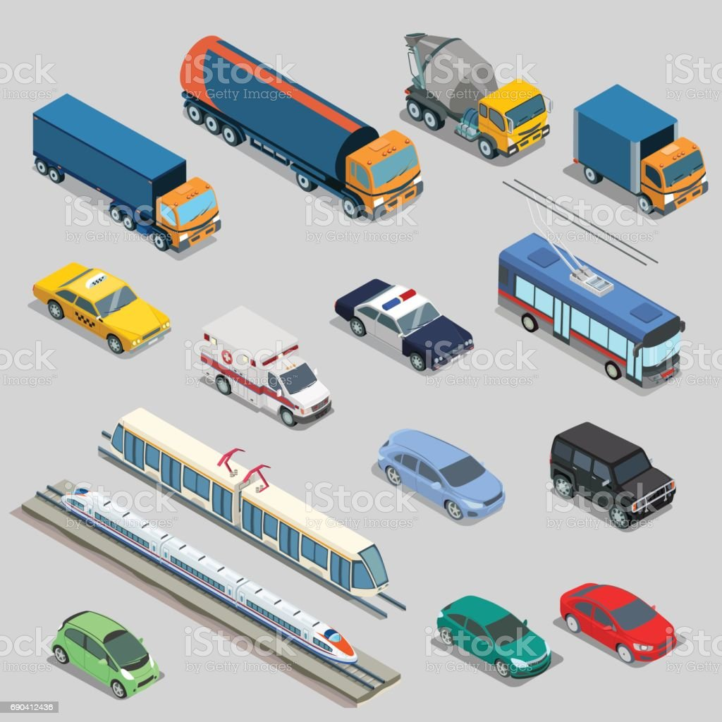 Isometric flat vehicle, railway, flying, passenger and cargo transport vector illustration set. 3d Isometry City service and specialized transportation collection vector art illustration